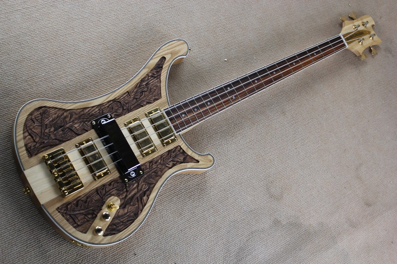 free shipping Henselae Through maple neck rick gold bass 4 string rick bass Wood Carved Limited Edition RICK bass guitar14 11 11
