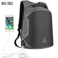 Мужской многофункциональный рюкзак-антивор от BAIBU для ноутбука 15,6 дюймов с подзарядкой через USB и разъемом для наушников, большой водонепро...