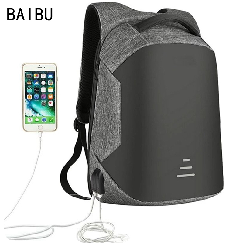 BAIBU Men Bag USB Charging Backpack Headphone Plug Anti-theft 15.6