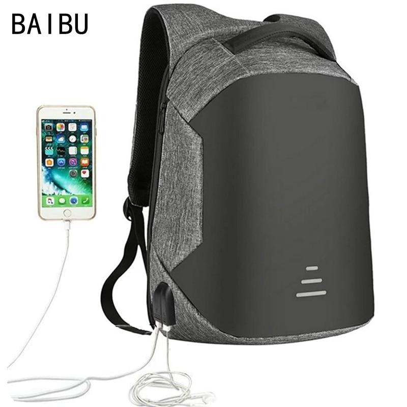 "Baibu Men Bag Usb Charging Backpack Headphone Plug Anti-theft 15.6"" Laptop Backpack Waterproof Business Large Travel Bag"