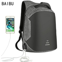 BAIBU Men bag USB Charging Backpack Headphone plug Anti theft 15.6 Laptop Backpack waterproof Business Large Travel bag