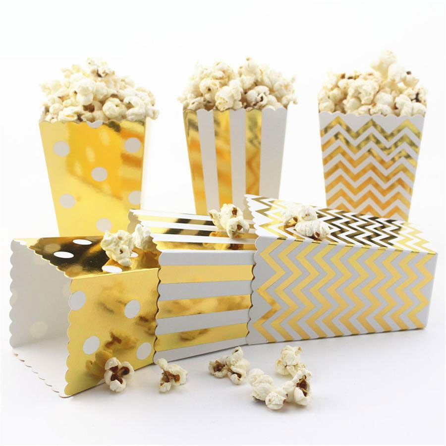 50pcs free shipping goldsliver popcorn boxes scalloped edge cardboard party candy container treat cartons