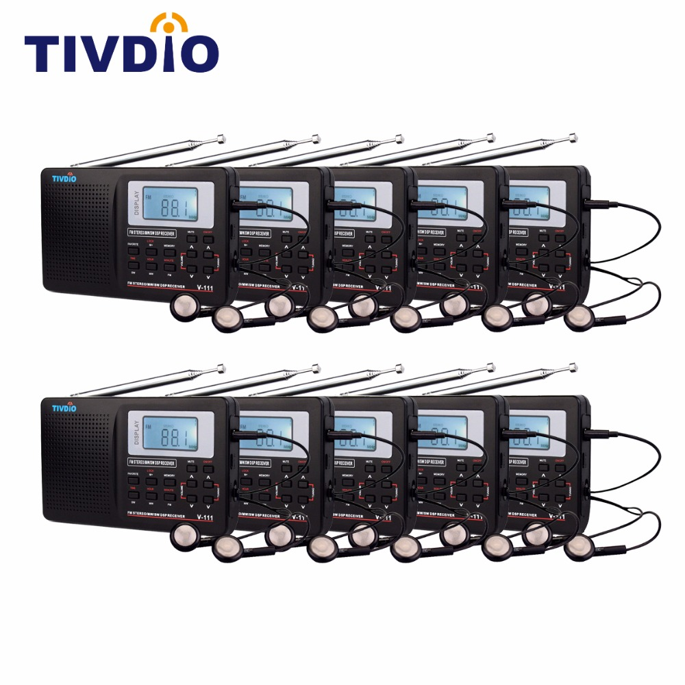10pcs TIVDIO V-111 Best DSP FM Radio Stereo / MW / SW Radio Multiband Radio World Radio Receiver with Clock&Alarm F9201A 10 pcs pocket radio 9k portable dsp fm mw sw receiver emergency radio digital alarm clock automatic search radio station y4408h