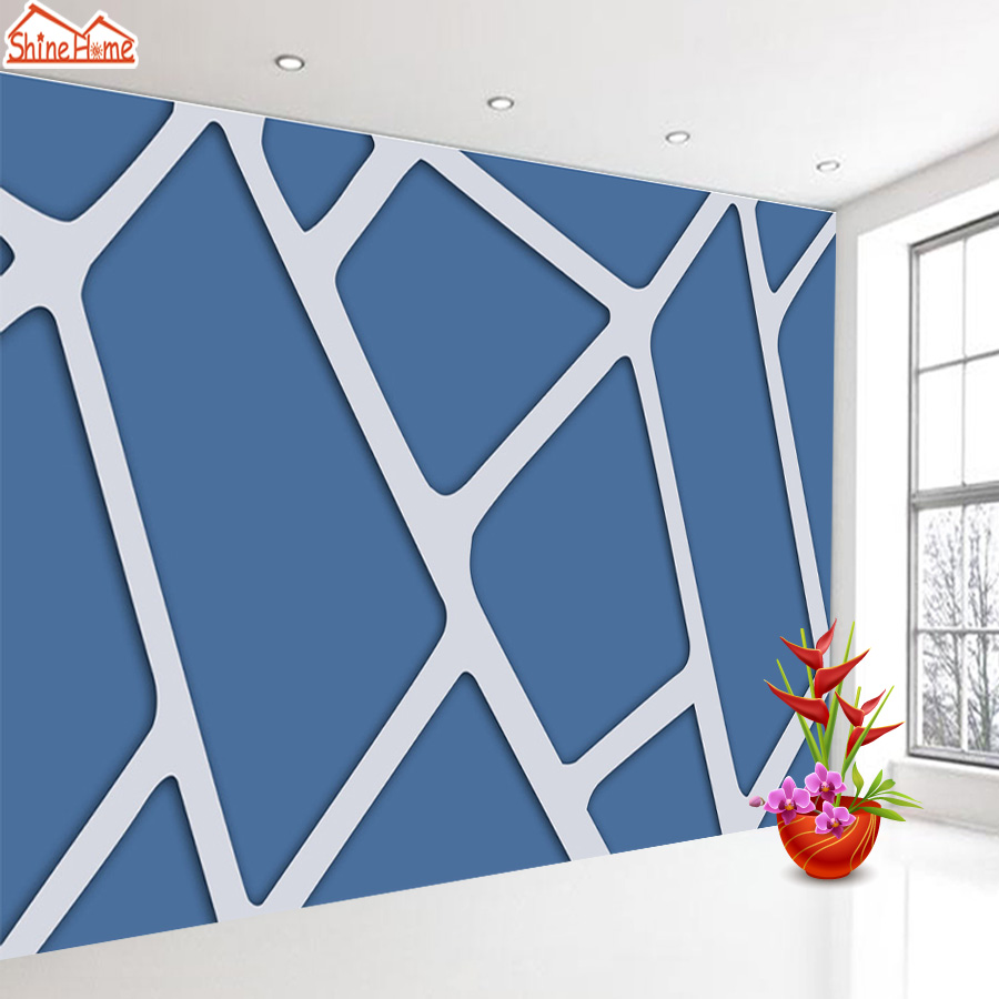 ShineHome-Modern Custom Blue Abstract Brick Photo Wallpaper 3d Stereoscopic Decorative Wall Paper Murals Boys Children Room shinehome modern custom elephant skyline photo wallpaper 3d stereoscopic decorative wall paper murals boys children kids room
