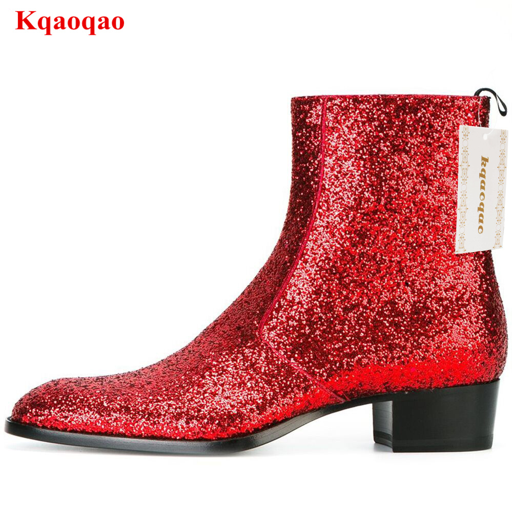 Red Bling Side-zip Boots Tapered Toe Stacked Heel Men Shoes Botas Hombre Chaussure Homme Shoes Hot Brand Men Boots Short Booties plus contrast panel side tapered sweatpants