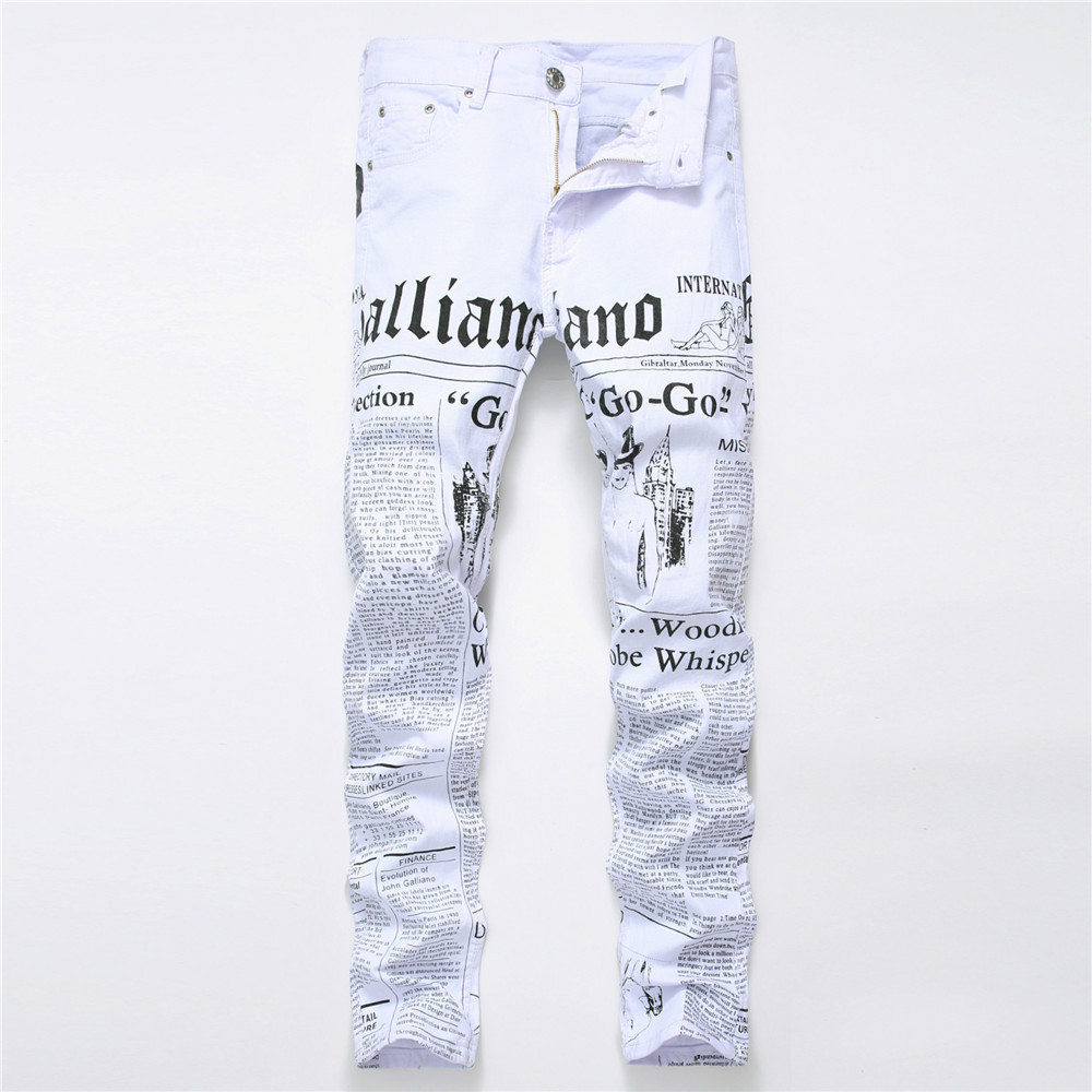 Cowboys Young Man fashion white   jeans   men   jeans   2018 autumn Denim Pants Classic Newspaper letter printed casual slim trousers