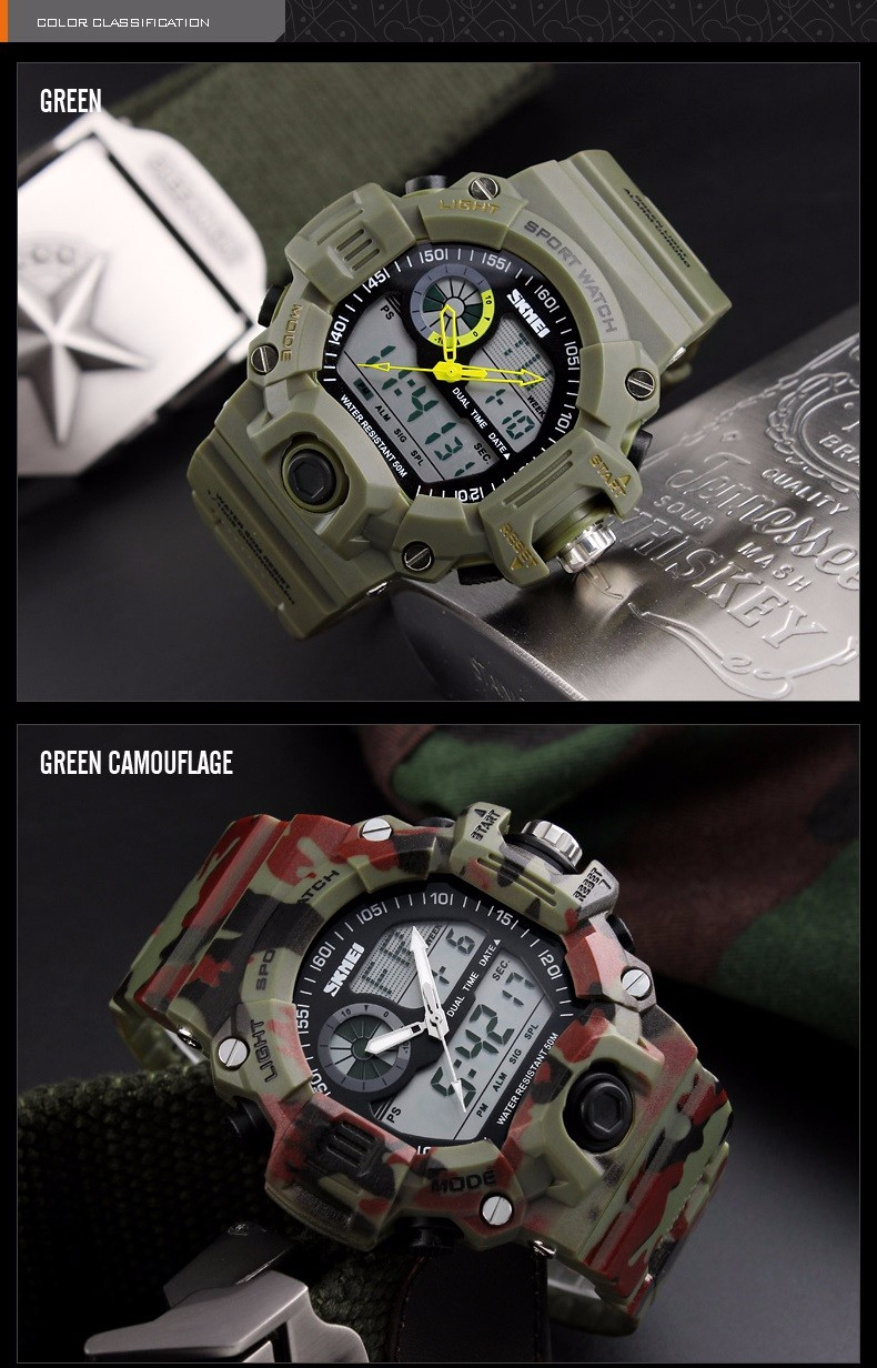 SKMEI S-SHOCK Men LED Digital Army Military Watch Green