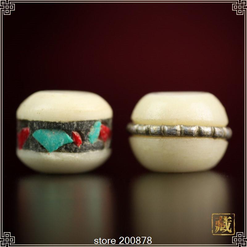 TSB0331 тибетские бусины кость тибетского яка инкрустированные медные металлические шелковые пояса мала бусины 10 бусин много рук красочные бусины 8 мм