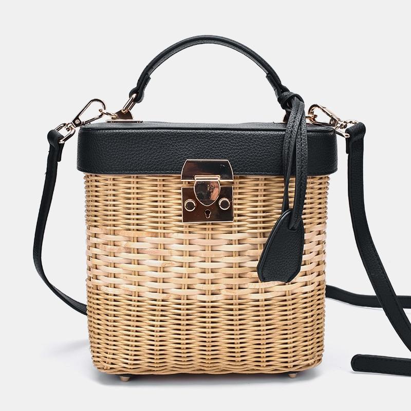 Ladies Leather Strap Single-shoulder Crossbody Bag Handmade Fashion Natural Woven Round Rattan Handbags