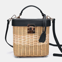 Ladies Leather Strap Single shoulder Crossbody Bag Handmade Fashion Natural Woven Round Rattan Handbags
