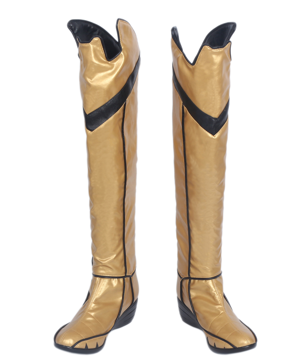 Batgirl Boots Cosplay Batman Arkham Knight Batgirl Gold PU Leather Boots Cosplay Shoes Custom Made Halloween