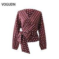 VOGUEIN New Womens Fashion Polka Dot Print V Neck Burgundy Long Sleeve Slim Shirt Blouse Short