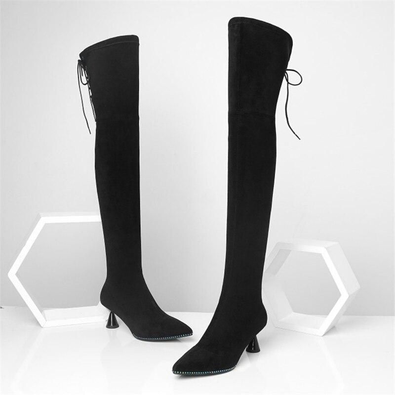Chaussures Hiver Rivet Genou Bout Haute Style Short Bottes Étrange Pointu De Dentelle noir Le Mode up Talons Plush Sur Femme Ouqinvshen Black XZTkOiPu