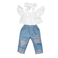 3Pcs Set Fashion Children Girls Clothes Off Shoulder Crop Tops White Hole Denim Pant Jean Headband