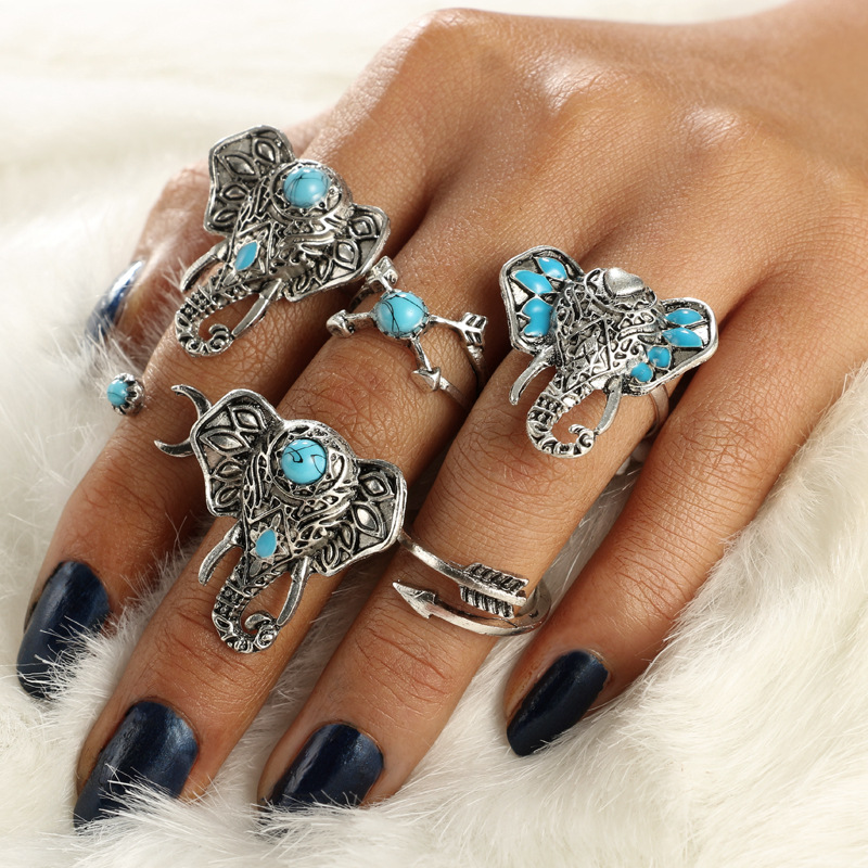 Punk Antique Gold Silver Color Finger Rings for Women Geometric Crystal Brown Stone Knuckle Ring Bohemian Jewelry