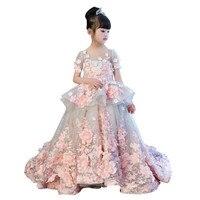 Детское летнее платье для девочек с цветочным узором; Роскошный Королевский синий вечерние свадебные розовые кружевные платья для девочек