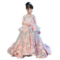 Children Girls Summer Flower Evenig Wedding Pink Lace Dresses Kids Girl Formal Birthday Party Princess Gown H06