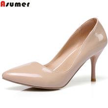 f6e57be51 ASUMER 6 cores Plus Size 34-46 2018 Nova Moda sapatos de salto alto mulheres  bombas de salto fino clássico branco bege vermelho .