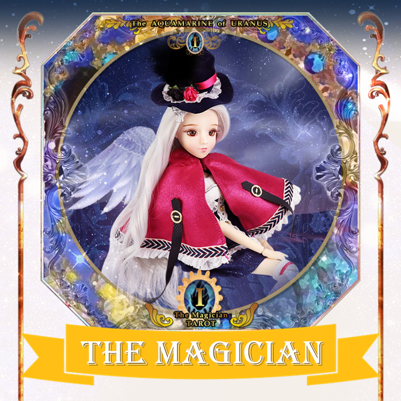цена MM girl Major Arcana THE MAGICIAN joint body doll grey hair with hat and Cloak TAROT CARD 34cm east barbi