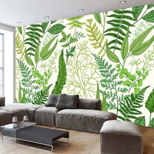 Nordic Modern Creative Fashion Green Plant Leaves Background Wall Decor Mural Wallpaper Custom Photo Wall Paper Living Room Sofa