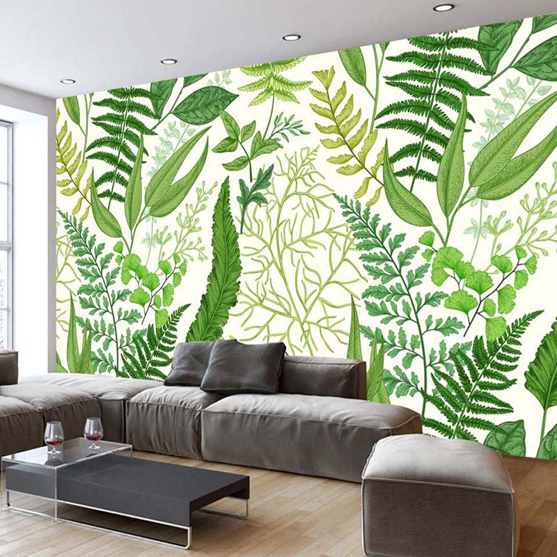 Nordic Modern Creative Fashion Green Plant Leaves Background Wall Decor Mural Wallpaper Custom Photo Wall Paper Living Room Sofa custom photo wallpaper modern style simple white rose as living room sofa background 3d mural wall paper on the wall