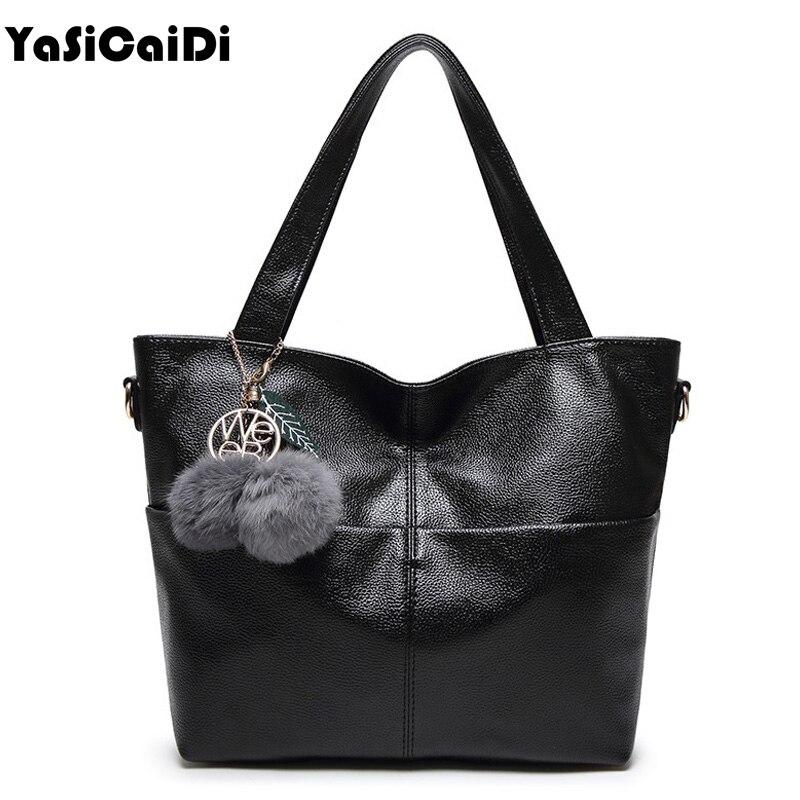 YASICAIDI Large Simple Tassel Full Ball Women Shoulder Bags Famous Brand Design PU Leather Women Handbags Sac A Main de marque
