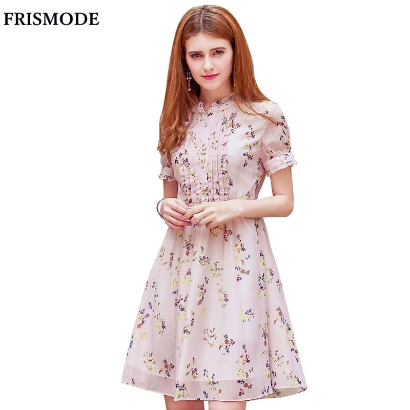 Young Lady Cute Floral Light Pink Summer Dress 2017 Single-breasted Midi Mori Girl Dress Women Sweet Chiffon Dress vestidos