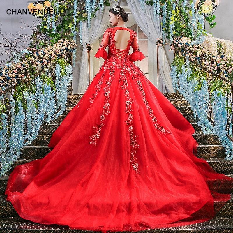 LS00407 Elegant red evening dress with half sleeves vestido de festa ...