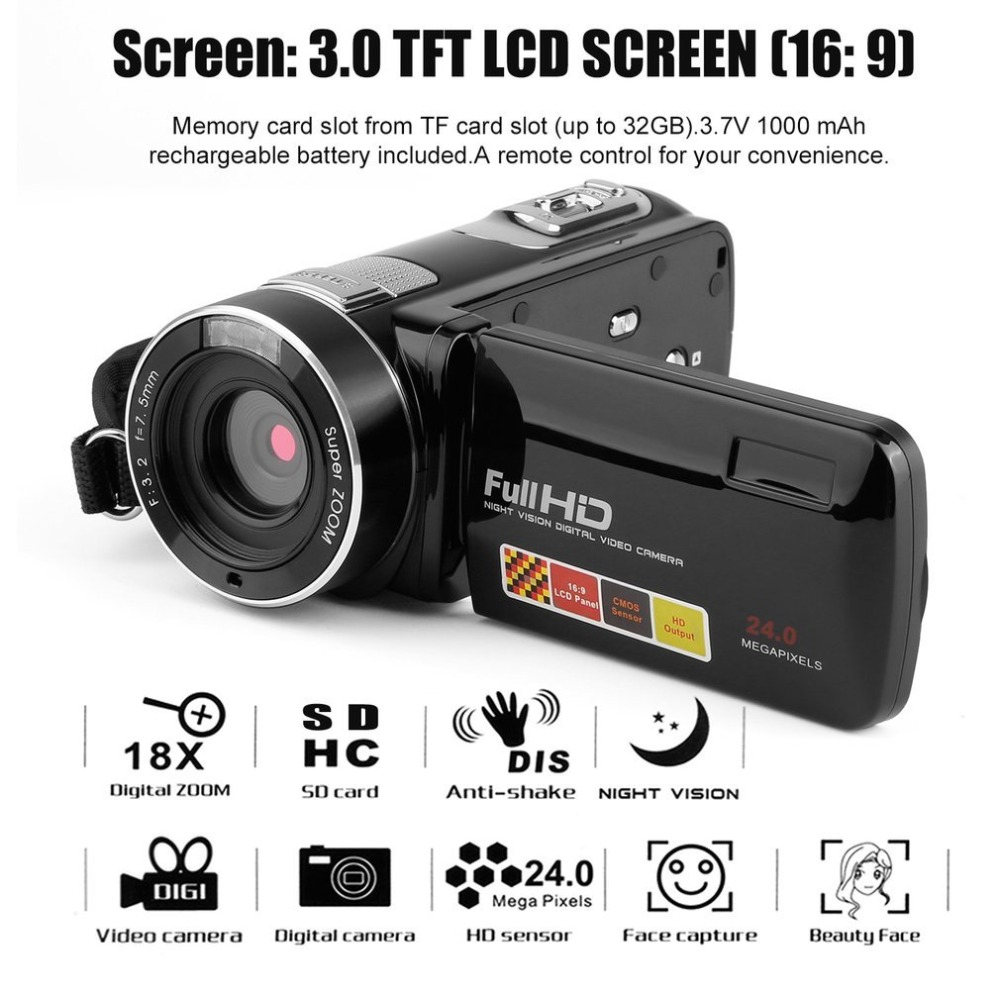 DV Video Camera Full HD 1080P Portable Camcorders 18X 24MP Home Use Digital Video Camera Camcorder 3 Rotating LCD Screen 3 0 lcd screen 1920 1080p full hd video digital camera 7 5mm portable outdoor indoor face capture dv camcorders anti shake