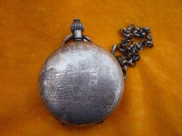 Collection ancienne montre de poche mécanique/horloge, peut travailler, sculpture merveilleuse, 18 siècle, avec marque, livraison gratuite