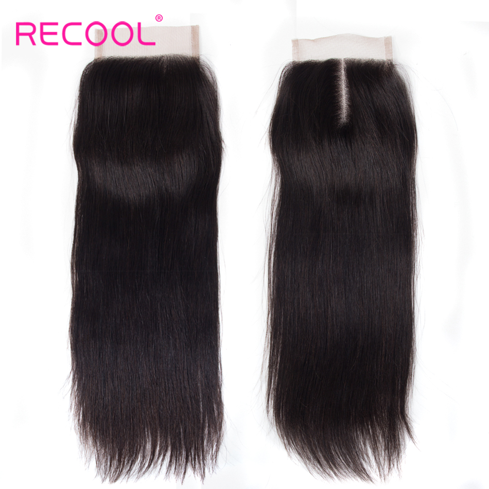 Recool Hair 5x5 Lace Closure Brazilian Straight Hair Swiss Lace 10 20 inch Free Middle Part