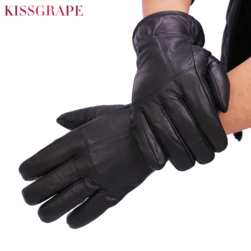 New Brand Super Warm Genuine Leather Gloves For Men 2019 Winter Warm Cotton Padded Gloves Large Size Male Motorcycle Mittens