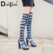 DORATASIA New Sexy Over The Knee Thigh High Summer Boots Women 2019 Fashion Platform Denim Shoes Heels Woman