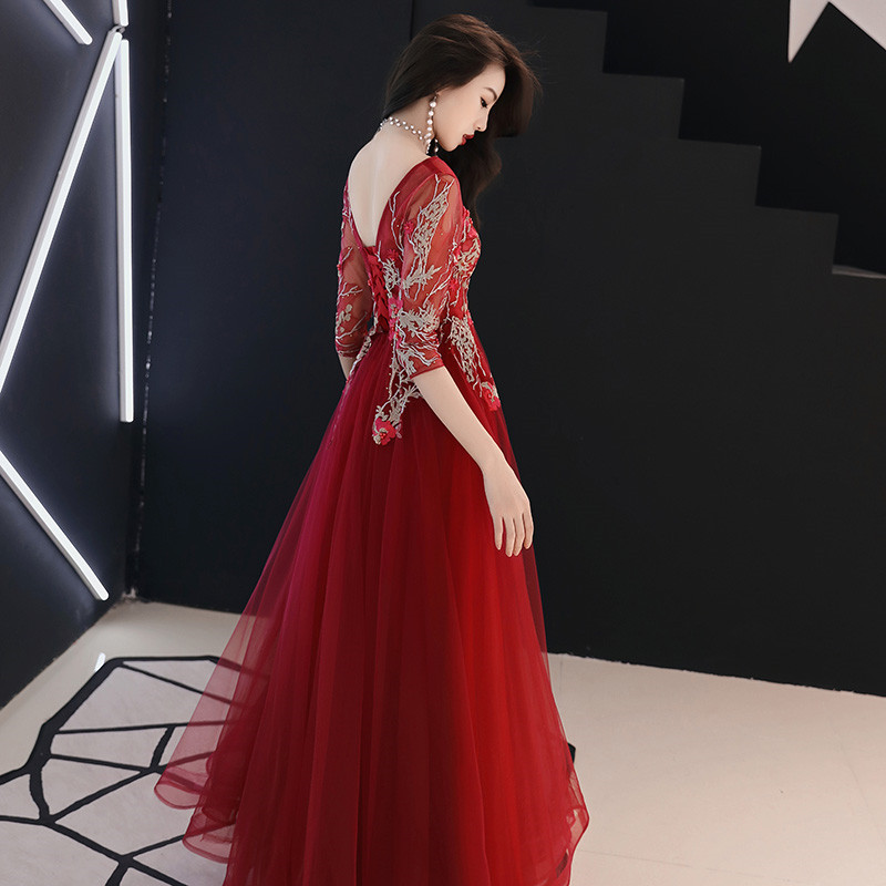 Elegant Evening Dresses Long V Neck Three Quarter Party Gowns Prom Dresses Evening Sexy Dress Robe De Soiree in Evening Dresses from Weddings Events