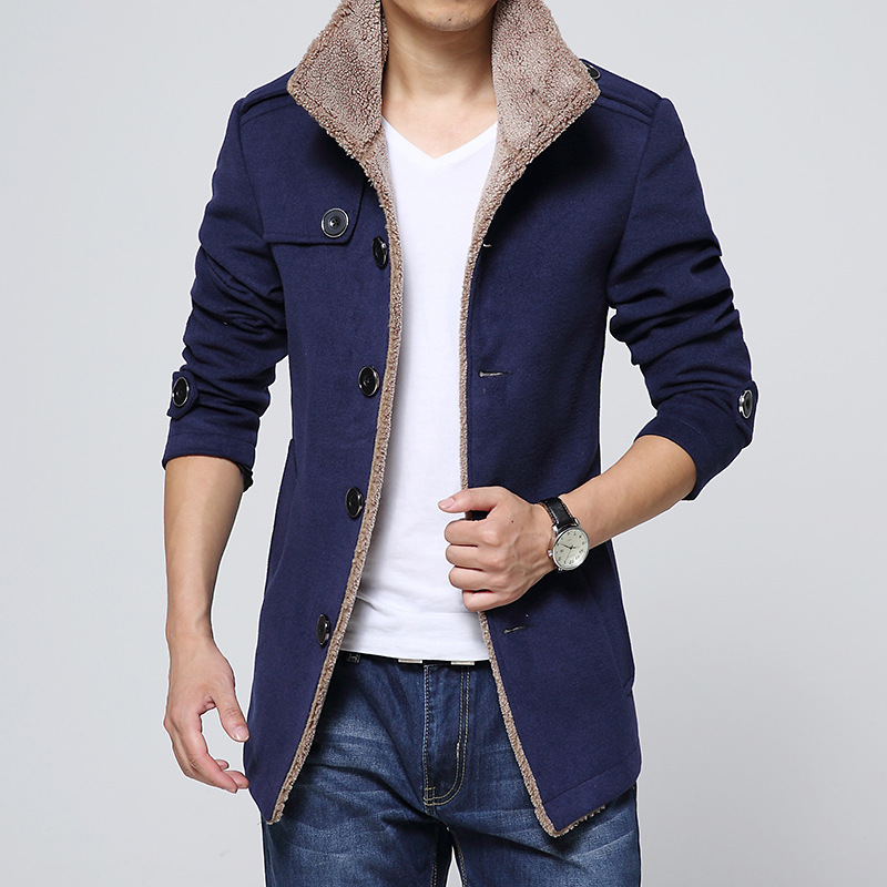new mens clothing dark blue coat lambs wool woolen jacket collar male fashion classic outwear spring & autumn Wool & Blends