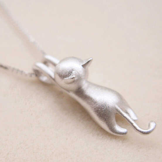 Funny Girls Cute Animal Jewelry High Quality Fashion Cartoon Cat 925 Sterling Silver Necklaces For Women Pendant Jewellry