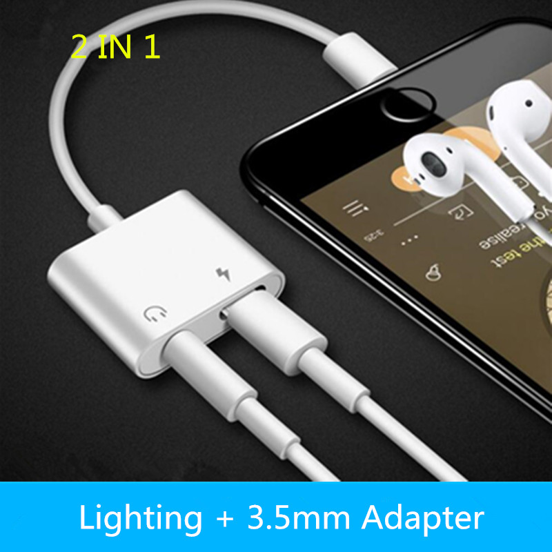 Mobile phone 2 in 1 Splitter For Lightning Audio Charging Adapter For iPhone 7 8 Plus/X Headphone Splitter Adapter Converter(China)