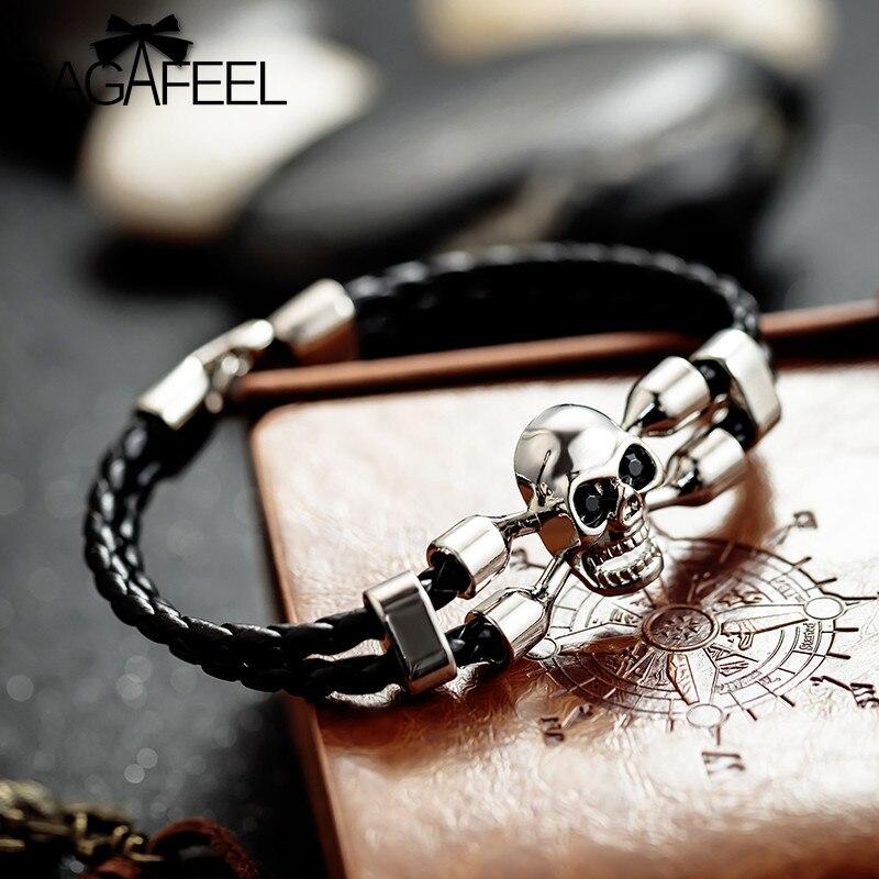 GAGAFEEL Punk Men Bracalet Vintage Black Skull Bracelets Braided Rope Genuine Leather Bangles Skeleton Bracelet Men Gift Jewelry