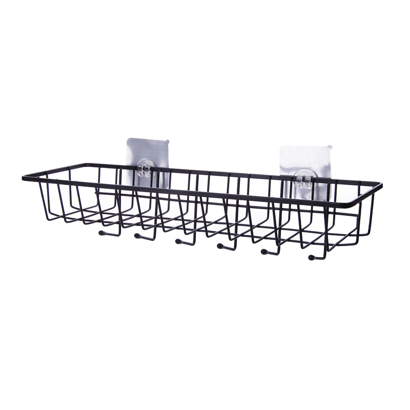 Iron storage rack kitchen wall-hung seasoning rack without punching finishing storage baskets bathroom storage rack Lu5164
