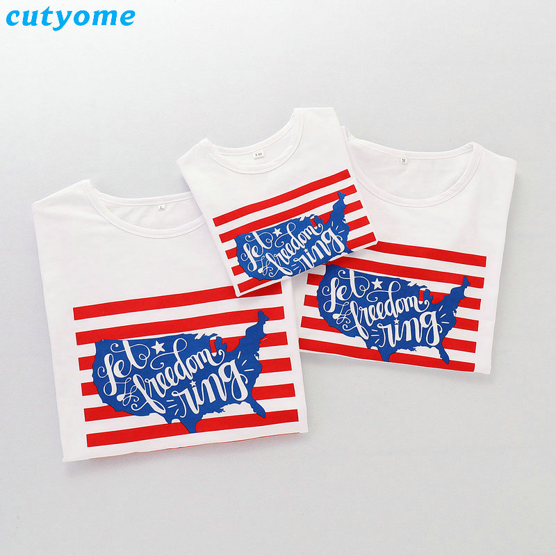 2019 Family Matching Outfits July 4th T-shirt Mother Daughter Father Son Independence Day Tee Tops Blouse Summer Cotton Summer (11)