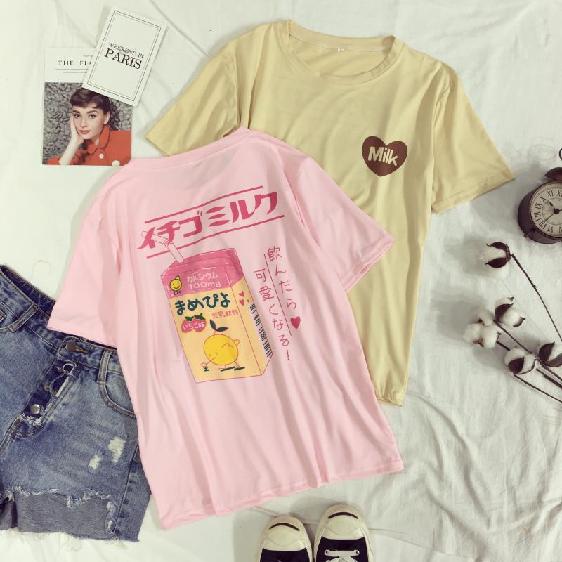 T-Shirt 2019 das Mulheres Verão O-pescoço Tee Harajuku Macio Amo Coração Caixa de Leite Impresso Top-manga Curta Bottoming Moda tee Camisa
