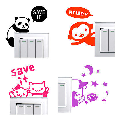 DIY Funny Cute Cat Switch Stickers Wall Home Decoration Bedroom Parlor
