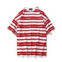 Camisa a rayas 2018 rayado completo letra impresa manga corta Camisetas  Harajuku algodón ocasional de Hip Hop Streetwear camiset. b5b8fc6cfd2