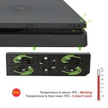5 V 0.6A PS4 slim USB Refrigerador de Ventoinha de Refrigeração com Externo 5-Fan Super Turbo Controle De Temperatura para o SONY Playstation 4 PS4 fino
