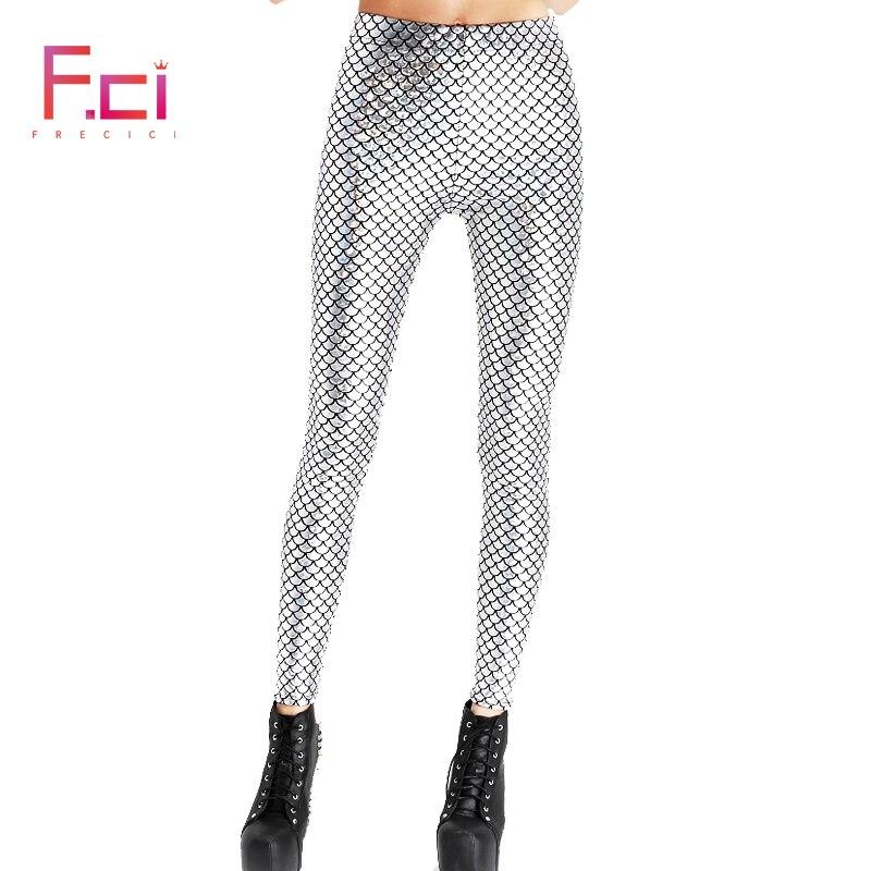 2019 Fashion Summer Women Shiny Scale Pants Digital Printed Female Mermaid Fish Scale   Leggings   Free Shipping Plus Size S~4XL