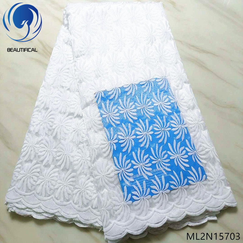 BEAUTIFICAL French lace fabrics for wedding Elegant white bridal tulle lace fabric 5yards hot sale nigeran lace fabrics ML2N157