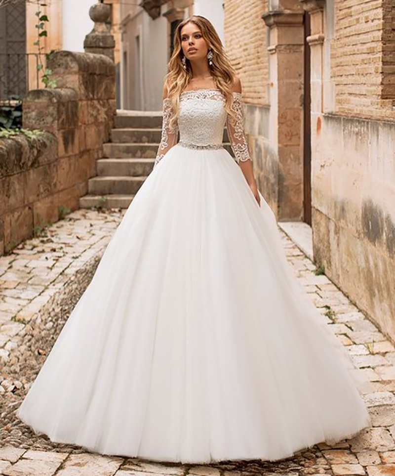Sexy A Line Wedding Dress Lace Appliques Off The Shoulder Bridal Dress 3/4 Sleeves Wedding Gowns Floor Length