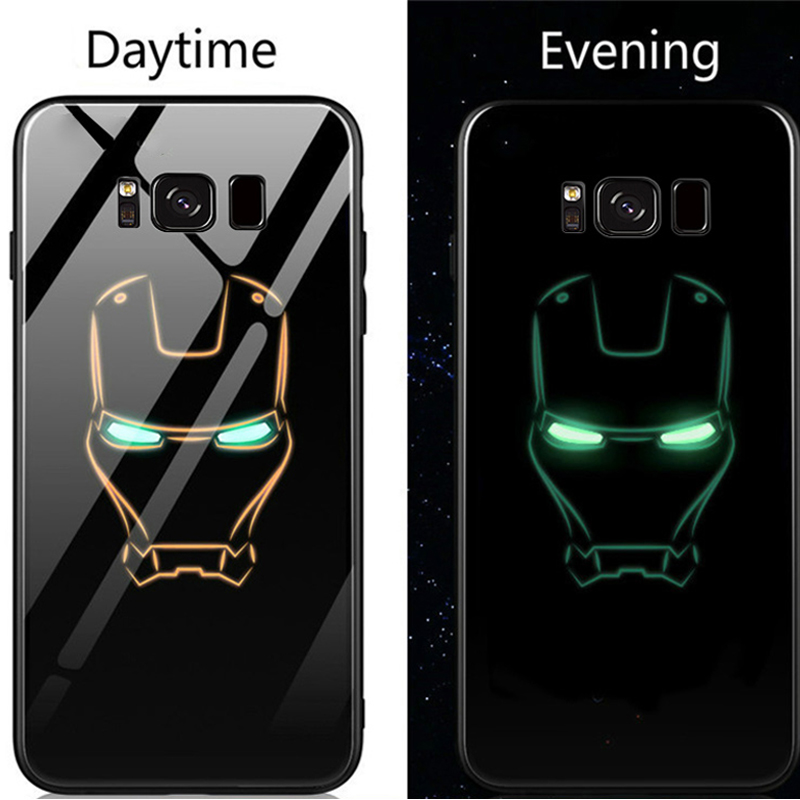 the latest b2829 caeae Marvel Iron Man Batman Glass Samsung Galaxy S8 S9 Plus Glow In The Dark  Note 8 9 Spiderman Black Panther Case