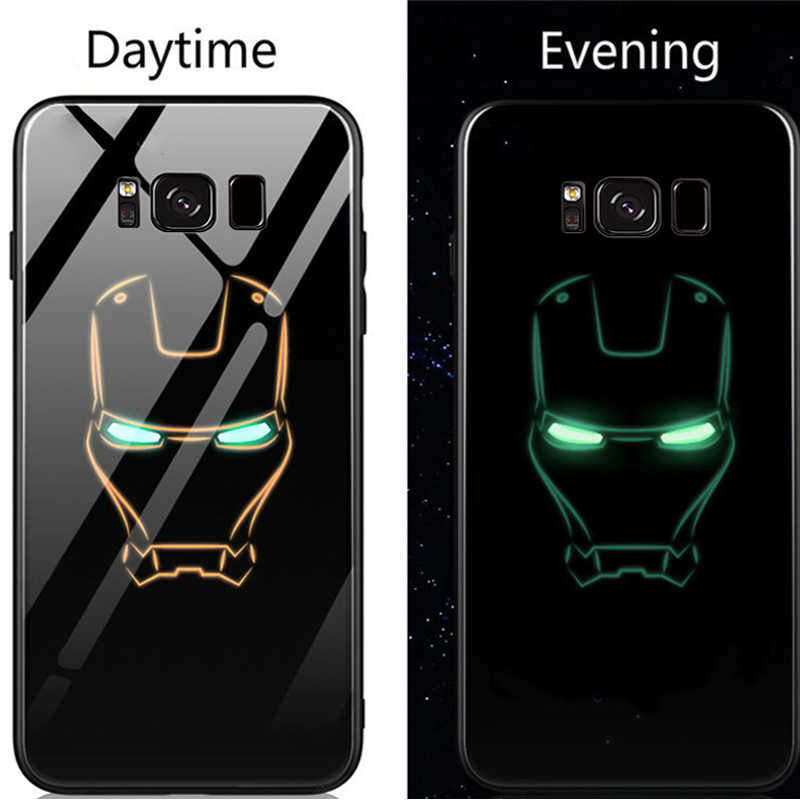 competitive price c76be 26b4e Marvel Iron Man Batman Luminous Glass Phone Case For Samsung Galaxy S8 S9  S10 e Plus Note 8 9 Avengers Black Panther Cover Coque