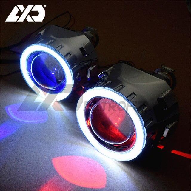 LXD 2.5 inch Mini Upgrade 8.0 HID Mini Bi xenon Angel Devil Eyes Lens Projector DRL